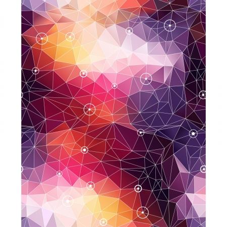 シームレスな抽象的な三角形のカラフルなパターンの背景に円、ドット  イラスト・ベクター素材