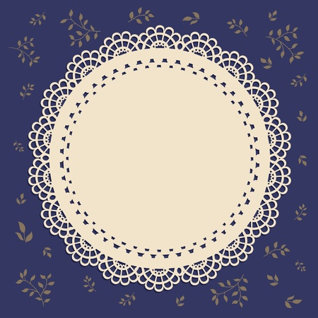 Lace vintage label brown with brown foliage Illustration