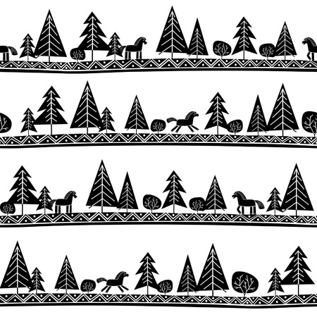 Ethnic seamless pattern with horses and trees
