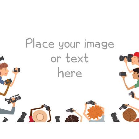 Illustratie van de vele cameramans, geïsoleerd op witte achtergrond