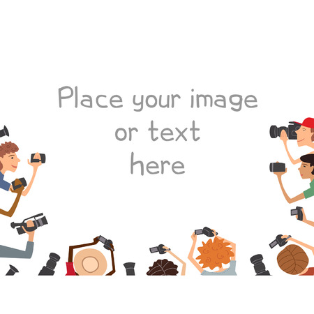 Illustration of many cameramans, isolated on white background