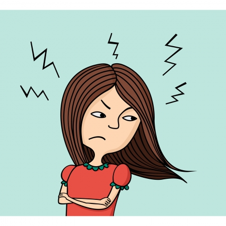 indignation: Illustration of angry girl