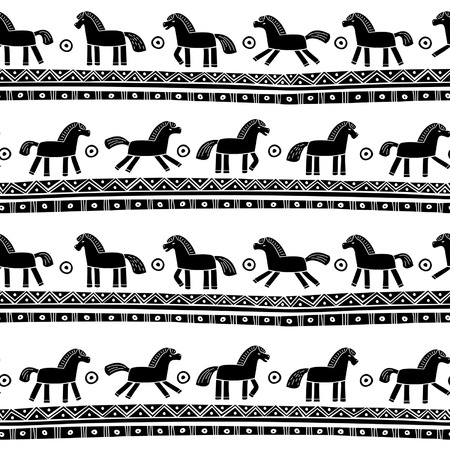 Ethnic seamless pattern with horses Иллюстрация
