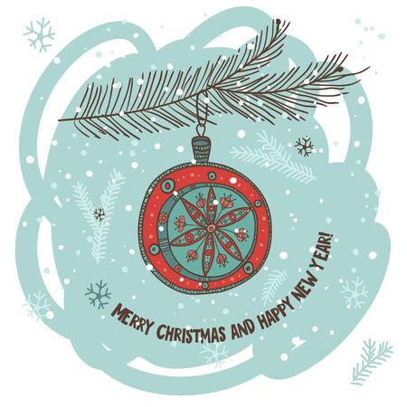 albero pino: Biglietto di auguri di Natale con la pallina sul ramo di albero di pino