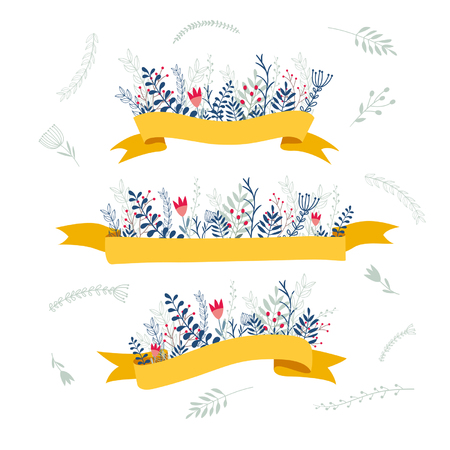 decorative floral compositions with ribbon for text isolated