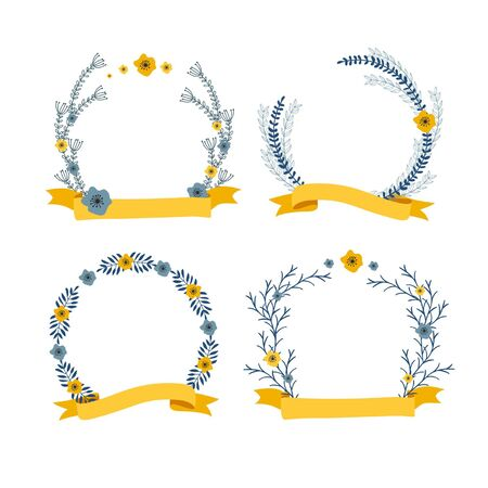 compositions: floral wreath decorative compositions with ribbon for text isolated Illustration