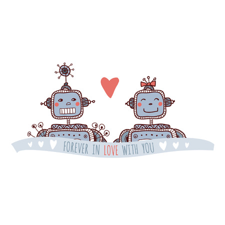 Illustration of robots in love, isolated Illustration
