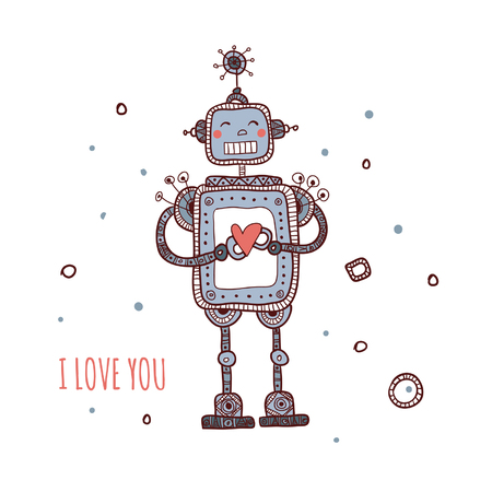 Illustration of robot in love with heart isolated