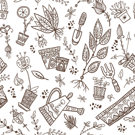 bailer: Seamles pattern of planting items and symbols on white background