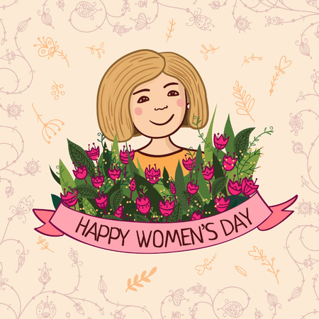 Vector illustration with charming woman with flowers and ribbon. Can be used as a greeting card, placard, banner for blonde mother, mom  with Birthday, Women