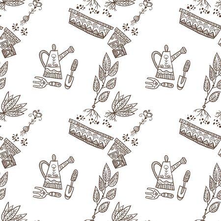 reforestaci�n: Plantar sin patr�n, con maceta, art�culos de jardiner�a, las plantas en el fondo blanco. Puede ser utilizado como un fondo, modelo, fondo, fondo de pantalla o para el envasado, plantilla bolsa, etc.