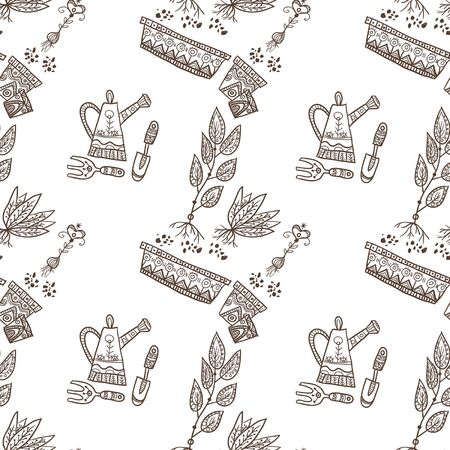 used items: Planting seamless pattern with flowerpot, gardening items, plants on the white background. Can be used as a background, pattern, backdrop, wallpaper or for packaging, bag template, etc.