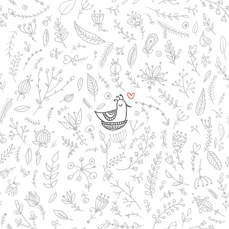 Vector seamless floral pattern with cute bird in nest. Isolated, white background, colorless with red heart accent. Can be used as a background,  pattern, backdrop,  wallpaper or as bag template, print for packet etc.