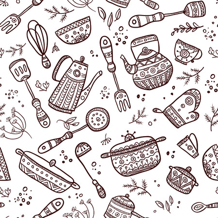 used items: Seamless pattern of kitchen items on the white background. Can be used as a background, pattern, backdrop, wallpaper or for packaging, bag template, etc.
