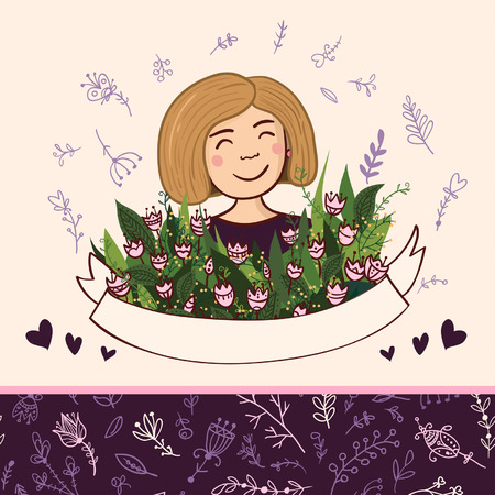 Vector illustration with charming woman with flowers and ribbon. Seamless pattern on the back layer. Can be used as a greeting card, placard, banner for woman  with Birthday, Women Illustration