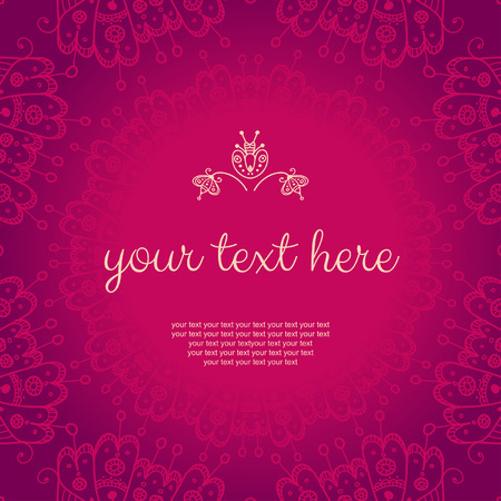 Decor for your design. Vintage lace doily. Decorative banner with floral decoration. Can be used as a invitation,  wedding card, banner, birthday card, brochure, card, template for your greeting message  or anything you choose.
