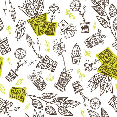 houseplants: Seamless pattern of houseplants in flowerpots on white background. Can be used as a background, pattern, backdrop, wallpaper or for packaging, bag template, etc.