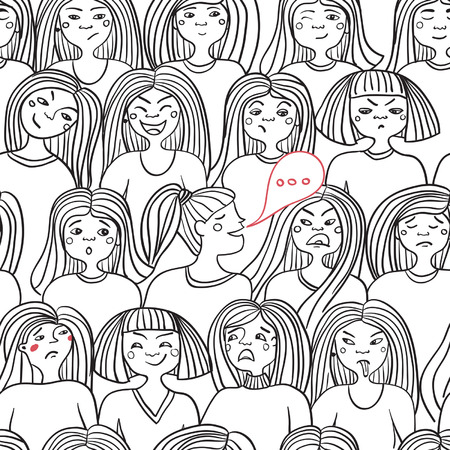 secret society: Seamless pattern of women expressing emotions on white background. Can be used as a background, pattern, backdrop, wallpaper or for packaging, bag template, etc.