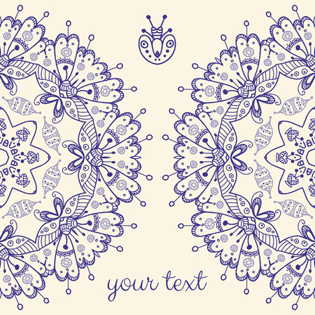 Decor for your design. Vintage lace doily. Decorative banner with mandala. Can be used as a invitation,  wedding card, banner, birthday card, brochure, card, template for your greeting message or anything you choose. Illustration