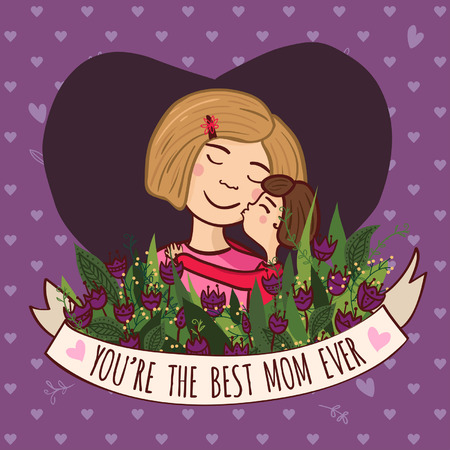 a charming: Vector illustration with charming woman with flowers and ribbon. Can be used as a greeting card, placard, banner for mother, mom  with Birthday, Women