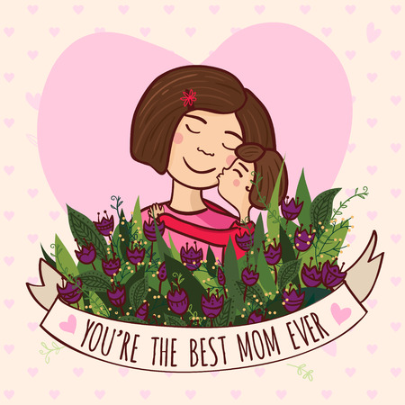 mother to be: Vector illustration with charming woman with flowers and ribbon. Can be used as a greeting card, placard, banner for mother, mom  with Birthday, Womens day, Mothers day or other holiday. Illustration