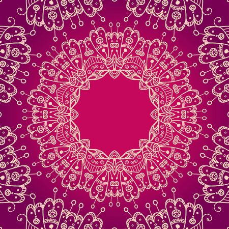reddish: Abstract vector floral ornamental border. Template frame design for card. Mandala style. Can be used as a invitation,  banner, border or frame for message, etc.