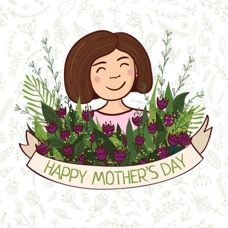 Vector illustration with charming woman with flowers and ribbon. Can be used as a greeting card, placard, banner for mother, mom  with Birthday, Women