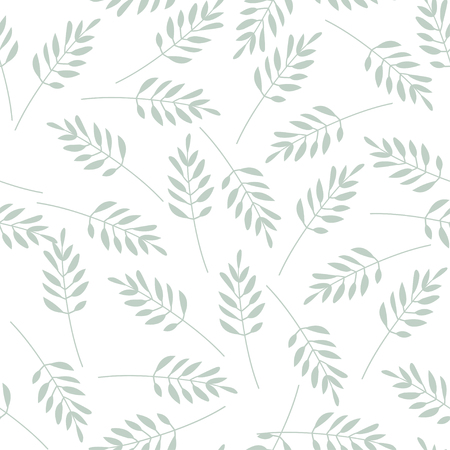 Hand drawn leaves vector pattern. Can be printed and used as wrapping paper, wallpaper, textile, etc.
