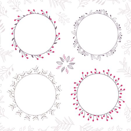 cup four: Set of four abstract vector floral ornamental borders. Template frames design for card. Can be used as an invitation, print for packet, cup, wedding card, banner, card, label, border or frame for message, etc. Illustration