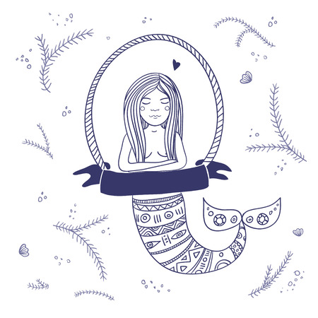 Illustration of mermaid with ribbon isolated.Can be used as a greeting card, placard, banner or as a template for bag, cup, packet print, etc. Illustration