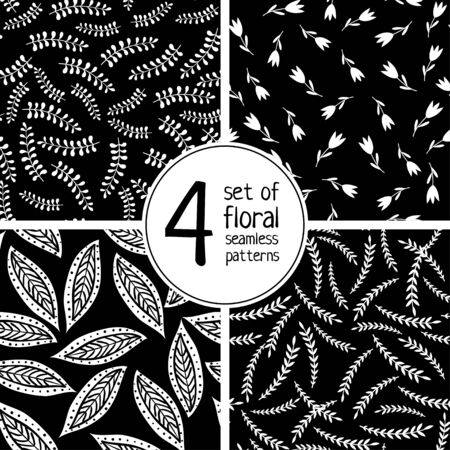 Set of four hand drawn floral vector pattern on black background. Can be printed and used as wrapping paper, wallpaper, textile, etc. Illustration