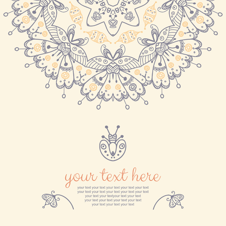 lace doily: Decor for your design. Vintage lace doily. Decorative banner with mandala. Can be used as a invitation,  wedding card, banner, birthday card, brochure, card, template for your greeting message  or anything you choose. Illustration