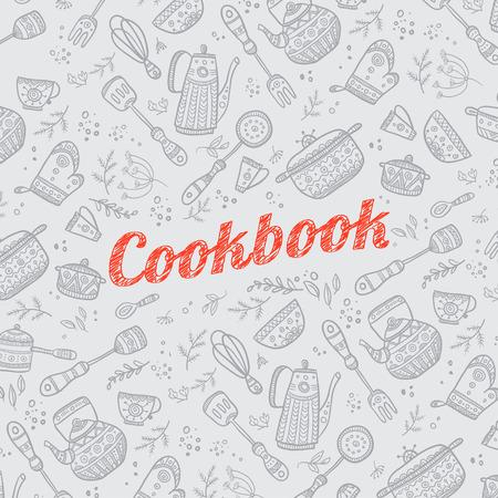 Cookbook cover design met keuken artikelen patroon. Vector sjabloon.