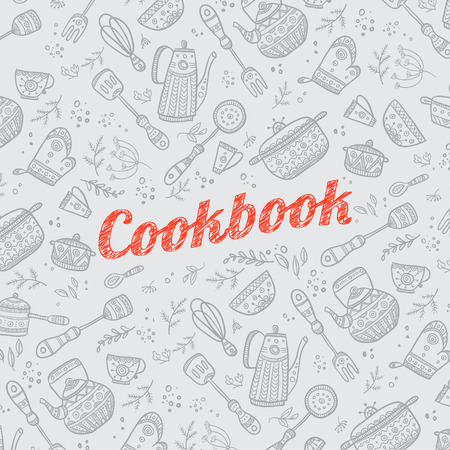 Cookbook cover design with kitchen items pattern. Vector template. Иллюстрация