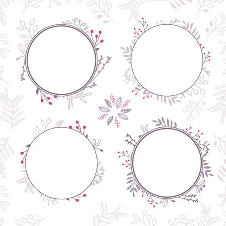 label frame: Set of four abstract vector floral ornamental borders. Template frames design for card. Can be used as an invitation, print for packet, cup, wedding card, banner, card, label, border or frame for message, etc. Illustration