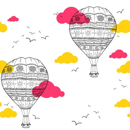 balloon animals: Seamless pattern with air balloons in the sky with colorful clouds