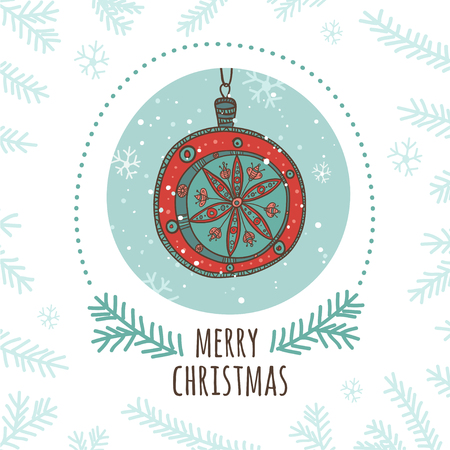 Christmas greeting card with red Christmas bauble. Can be used as a bag template, print for packet, cup, banner, brochure, card, cover, invitation, label, etc.