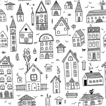 Abstract seamless pattern with houses on white background Illustration