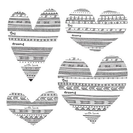Ethnic tribal geometric style heart shape vector gift tags. Can be used as a gift tags, card.