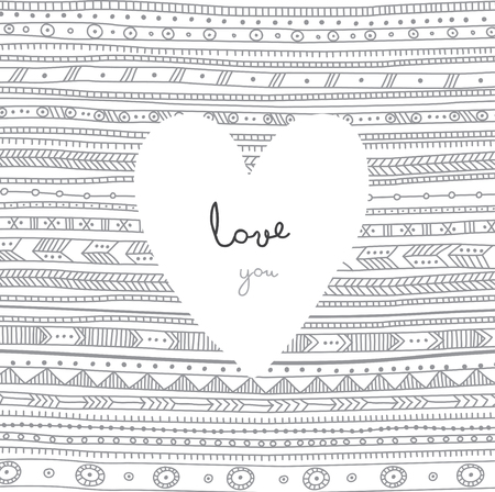 Vector Love You card with white heart on ethnic tribal style ornamental background. Can be used as a greeting card for Valentines day, placard, invitation, banner