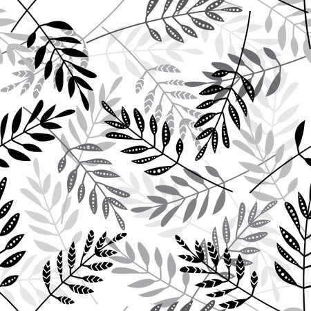 Vector seamless pattern with ethnic style leaves on white background. Can be printed and used as wrapping paper, wallpaper, textile, fabric etc.