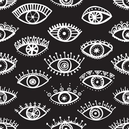 ojos negros: Dibujado a mano patrón transparente indio étnico ojos tribales de la moda en blanco y negro de moda. Puede ser impreso y utilizado como papel de envolver, papel pintado, textiles, tejidos, etc.