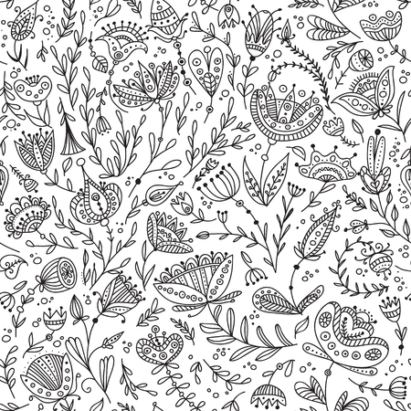 Ethnic style floral black and white seamless pattern. Can be printed and used as wrapping paper, wallpaper, textile, fabric, etc.