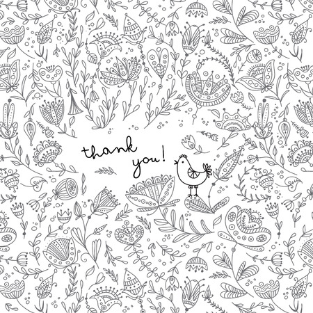 Ethnic style floral thank you card witn bird. Can be used as a greeting card, placard, poster, invitation.