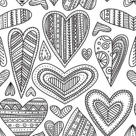 Ethnic tribal style ornamental hearts vector seamless pattern. Can be printed and used as wrapping paper, wallpaper, textile, fabric, coloring page, etc.