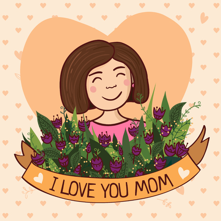 charming: Vector illustration with charming woman with flowers and ribbon. Can be used as a greeting card, placard, banner for mother, mom  with Birthday, Womens day, Mothers day or other holiday. Illustration