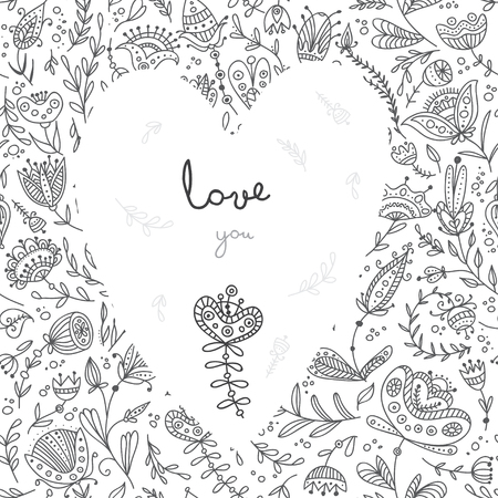 Vector Love You card with floral background and white heart. Can be used as a greeting card for Valentines day, invitation, placard, banner Illustration