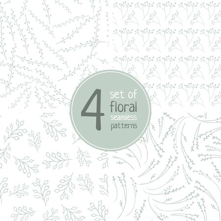 Set of four hand drawn floral vector seamless patterns on white background. Can be printed and used as wrapping paper, wallpaper, textile, etc.