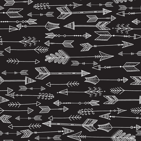 Vector seamless black and white ethnic pattern with tribal arrows in native style. Can be printed and used as wrapping paper, wallpaper, textile, etc. Illustration