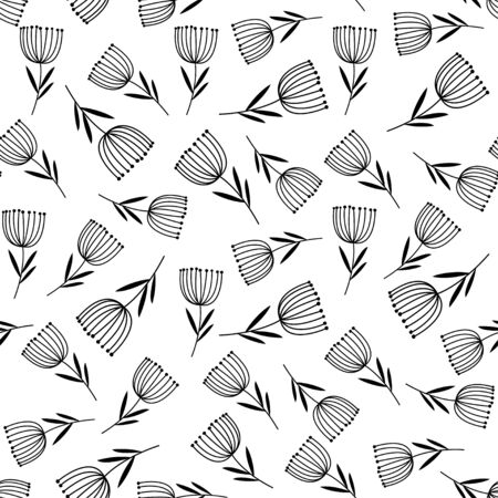 Hand drawn floral vector pattern. Can be printed and used as wrapping paper, wallpaper, textile, etc.